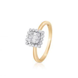 Pierścionek złoty bicolor z brylantem i diamentami ZPA/PB+460K