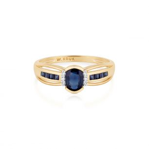 Pierścionek złoty bicolor z szafirami i diamentami ZIN/PB+347K