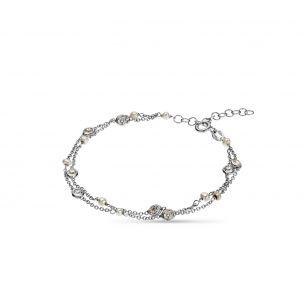Bransoleta srebrna z cyrkoniami i perłami SSX/AC019