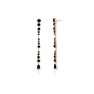 Kolczyki różowe złoto z czarnymi szafirami ZDL/KS14R