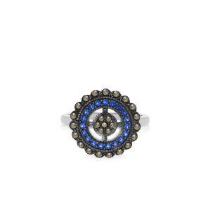 Pierścionek srebrny z cyrkoniami i markazytami SIS/PS001