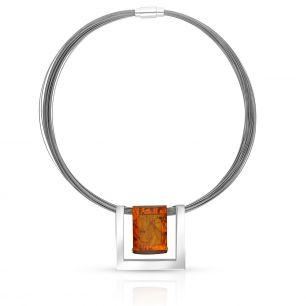 Naszyjnik srebrny z bursztynem SRB/NB241K
