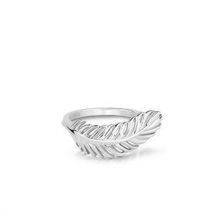Pierścionek srebrny boho z piórkiem SCH/PS196