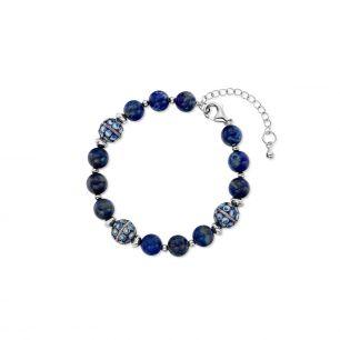 Bransoleta srebrna z lapis lazuli SUS/AS036