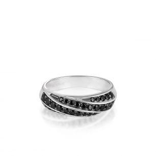 Pierścionek srebrny z czarnymi spinelami SDL/PC018