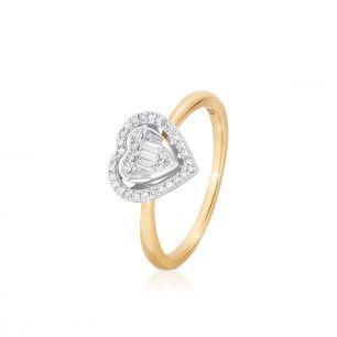 Pierścionek złoty bicolor z brylantem i diamentami serce ZPA/PB+461K