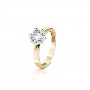 Pierścionek zaręczynowy złoty Romantyczny ZNN/PB+49BK