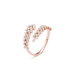 Pierścionek różowe złoto z brylantami ZFT/PB+136R