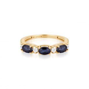 Pierścionek złoty bicolor z szafirami i diamentami ZIN/PB+334K