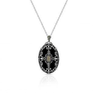 Wisiorek srebrny z onyksem i markasytami SHF/WN043
