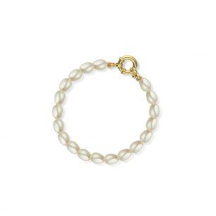 Bransoleta srebrna pozłacana z perłami STW/AP030Z