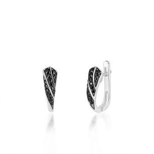 Kolczyki srebrne z czarnymi spinelami SDL/KC018