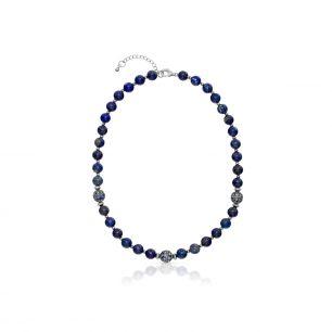 Naszyjnik srebrny lapis lazuli SUS/NS036