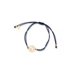 Bransoletka srebrna na niebieskim sznurku kula ziemska SMN/AS167Z