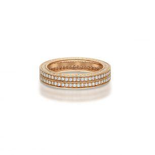 Pierścionek różowe złoto z brylantami ZFT/PB+130R