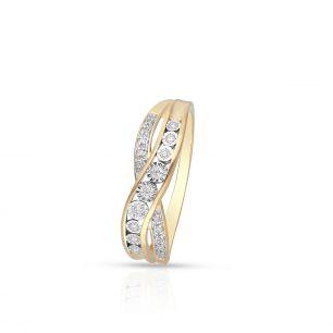 Pierścionek złoty bicolor z brylantami i diamentami ZCG/P+1063K