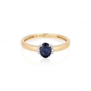 Pierścionek złoty bicolor z szafirem i diamentami ZIN/PB+369K