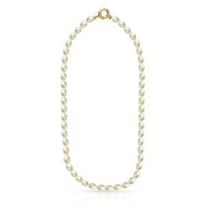 Naszyjnik srebrny pozłacany z perłami STW/NP030Z