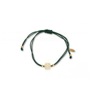 Bransoletka srebrna na zielony sznurku arabeska SMN/AS171Z