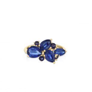 Pierścionek złoty z iolitami i cyjanitami ZIN/PW75Q