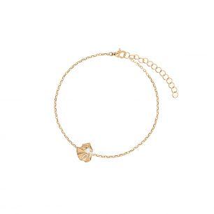Bransoletka srebrna pozłacana liść z perłą SJT/AP005Z
