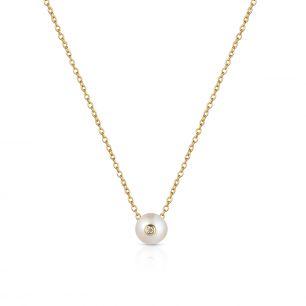 Naszyjnik srebrny pozłacany z perłą i cyrkonią SAU/NP006Z