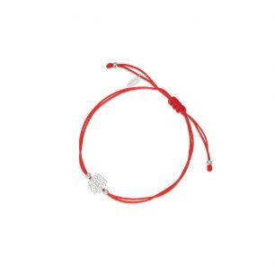 Bransoletka srebrna na czerwonym sznurku arabeska SMN/AS171
