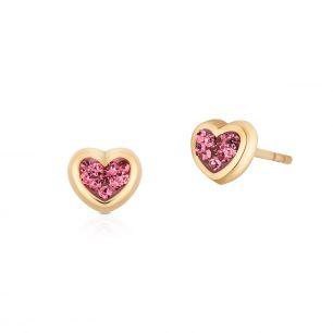 Kolczyki złote serca z cyrkoniami ZJE/KC20