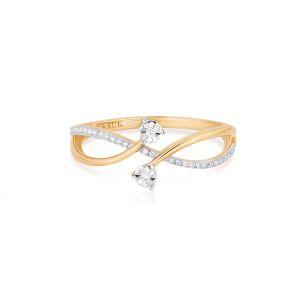Pierścionek złoty bicolor z diamentami ZUF/PB+09BK