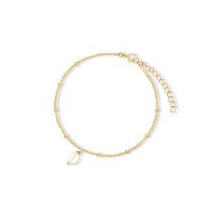 Bransoletka srebrna pozłacana z perłą SAU/AP002Z