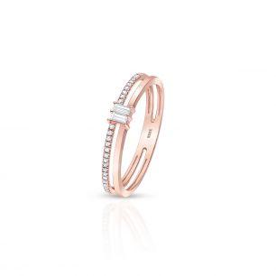 Pierścionek różowe złoto z diamentami ZFT/PB+150R