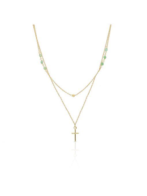 Naszyjnik złoty kaskadowy z jadeitami krzyżyk