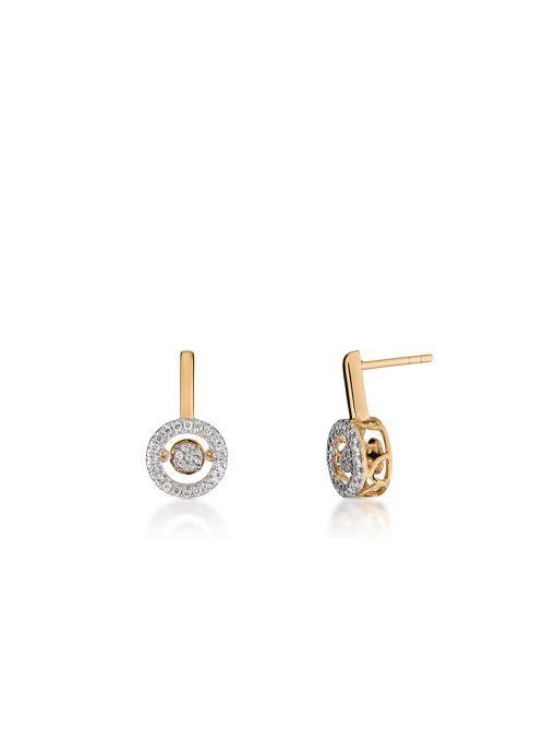 Kolczyki złote okrągłe z brylantami