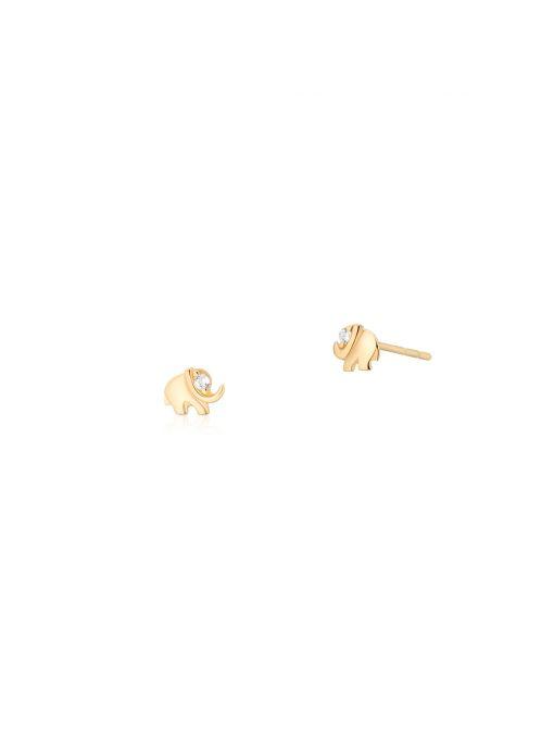 Kolczyki złote słoniki z cyrkonią