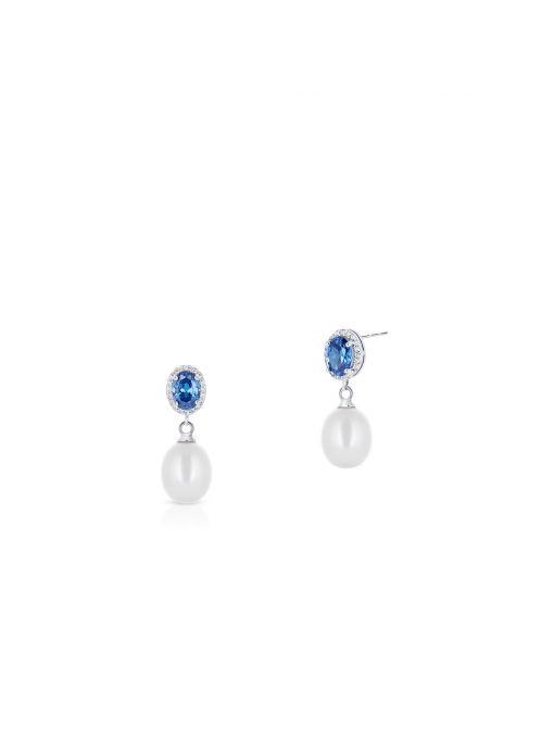 Kolczyki srebrne z perłami i granatowymi cyrkoniami