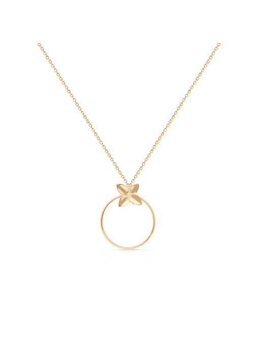 Naszyjnik złoty koło z motywem kwiatowym