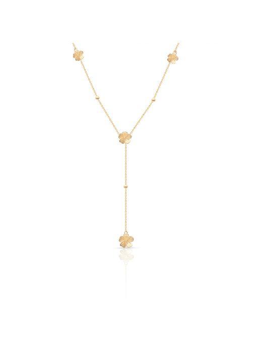 Naszyjnik złoty krawatka z motywem kwiatowym