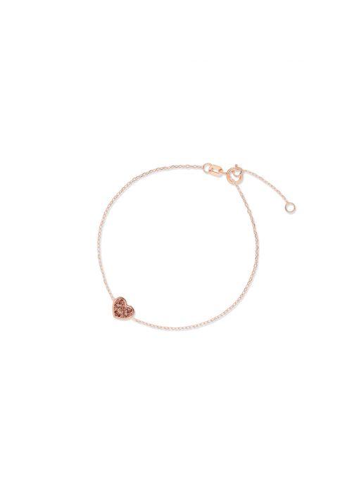Bransoletka różowe złoto z motywem serca