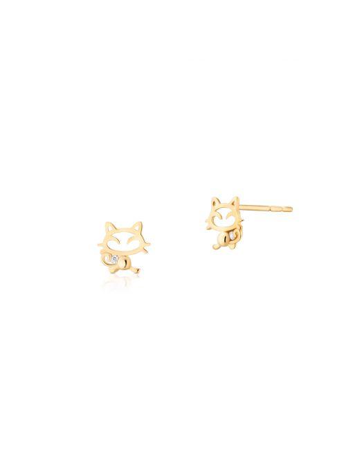 Kolczyki złote kotki z cyrkonią