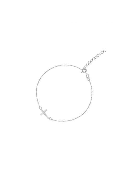 Bransoletka srebrna krzyżyk z cyrkoniami