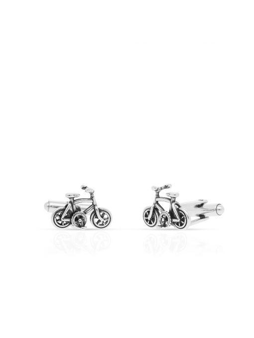 Spinki do koszuli srebrne rowery