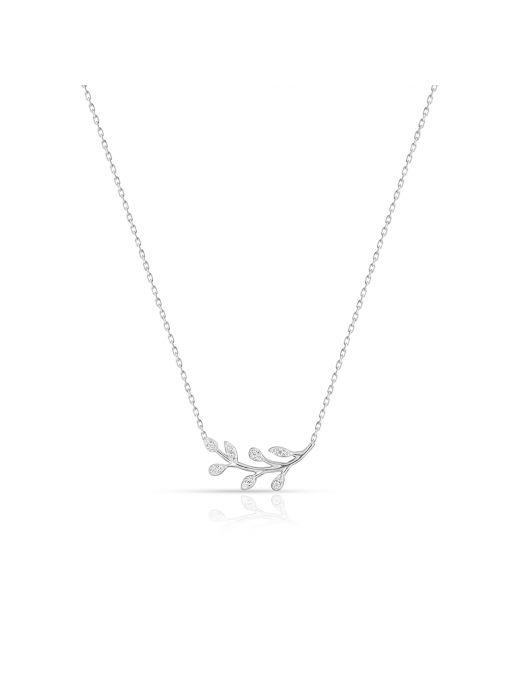 Naszyjnik srebrny z motywem roślinnym