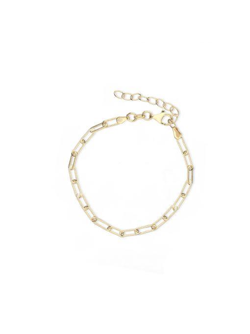Bransoleta srebrna pozłacana paper clip