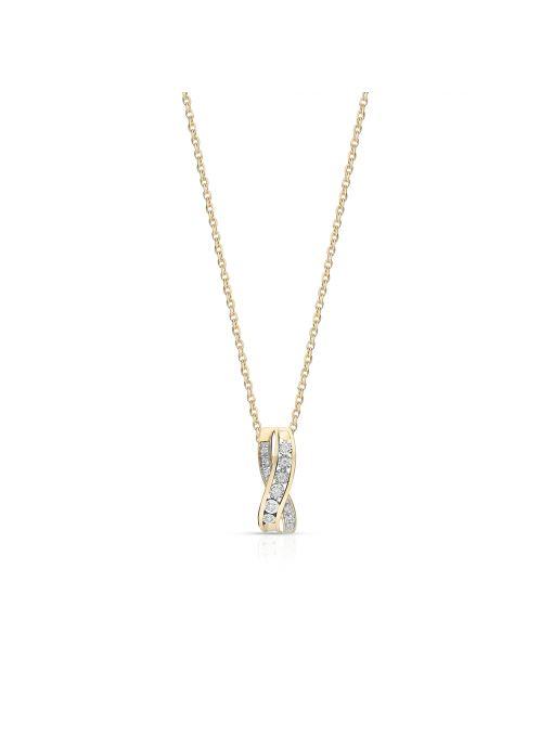 Wisiorek złoty bicolor z brylantami i diamentami