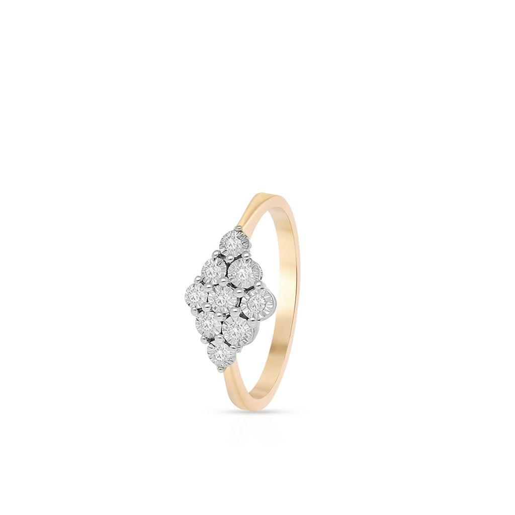 Pierścionek złoty bicolor z brylantami i diamentami