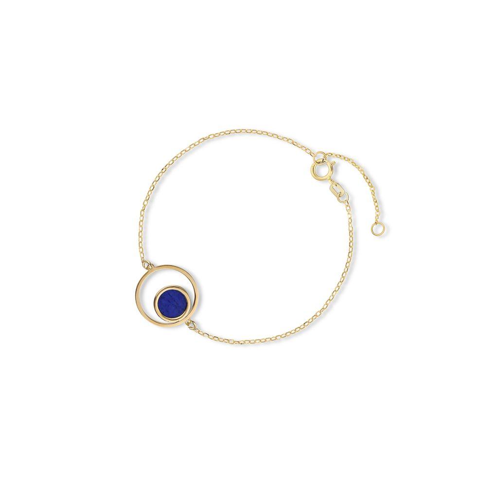 Bransoletka złota z lapis lazuli