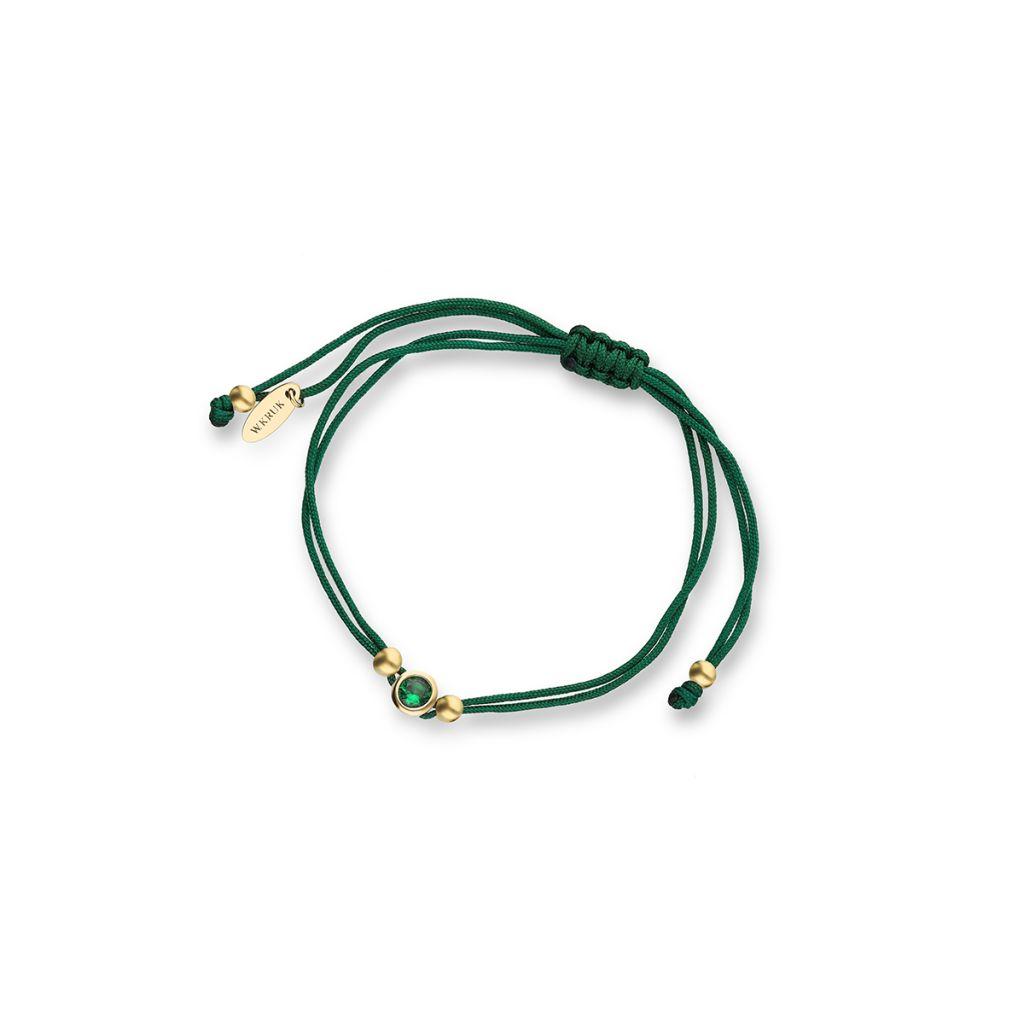 Bransoletka srebrna pozłacana na zielonym sznurku z cyrkonią
