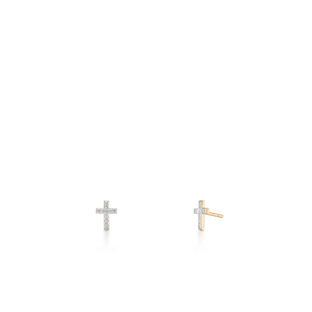 Kolczyki złote bicolor krzyżyki