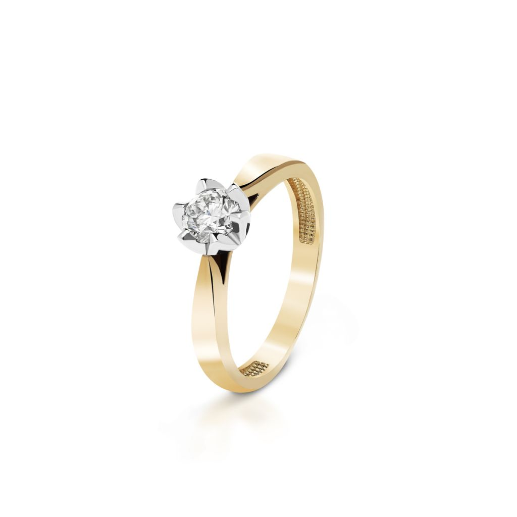 Pierścionek zaręczynowy złoty Romantyczny