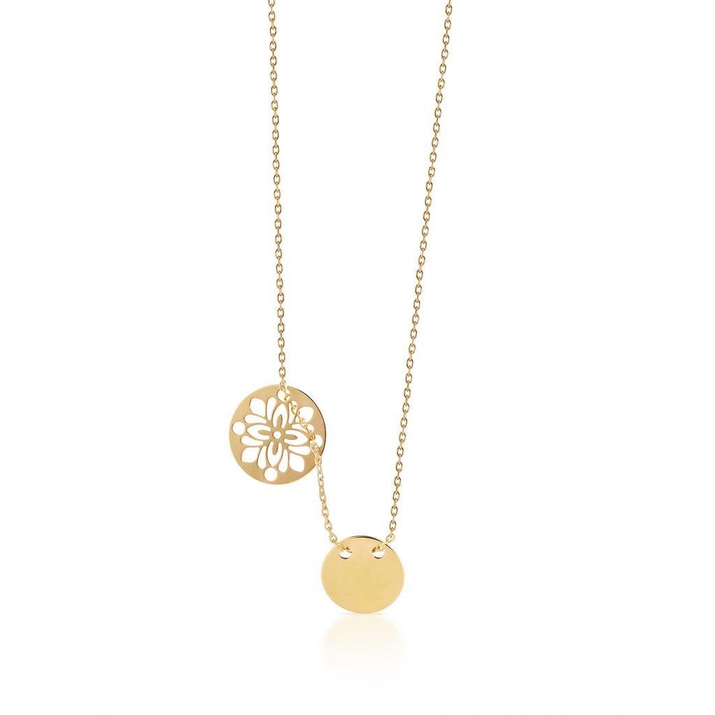 Naszyjnik srebrny  z ażurowym kwiatem